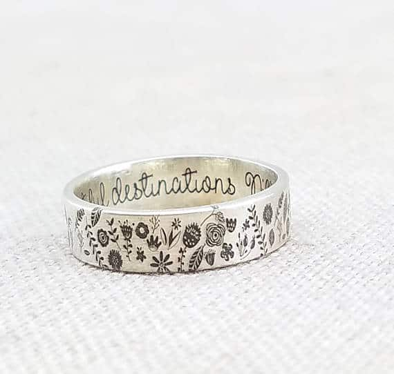 Silver ring with floral embellishment