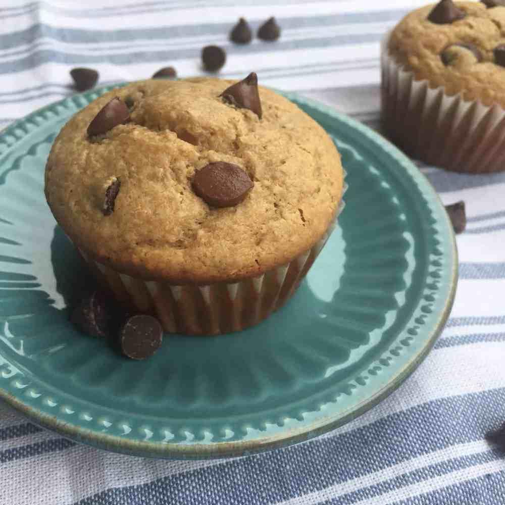 Healthy Peanut Butter Chocolate Chip Breakfast Muffins