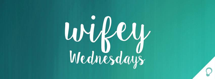 "Text overlay on a blue background reading ""Wifey Wednesdays"" - a bible study for moms podcast"