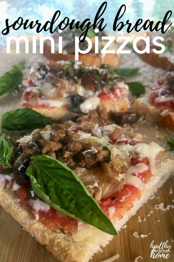 Homemade mini pizzas with a sourdough-bread crust are the perfect quick and easy dinner recipe. The sour base is a perfect pairing with savory toppings.