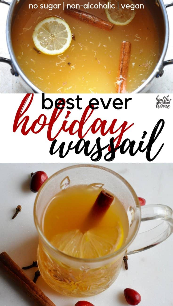 This wassail recipe is the BEST guilt-free holiday treat! Filled with seasonal fruits & mulled spices, this hot wassail is also sugar free & non-alcoholic. #wassail #holiday #sugarfree