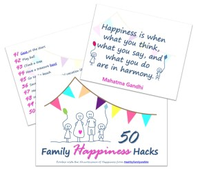 the Neuroscience of Happiness. Jumbo List with 50 happy family hacks. Grab yours now. #happiness #happyfamily #familyhappiness #behappy #happinesshacks