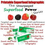Unsurpassed Superfood Power Series Mega Memory Boost. Targeted ways to boost your child's performance during exam times. #superfoods #freeprintable #megamemory #performanceboost