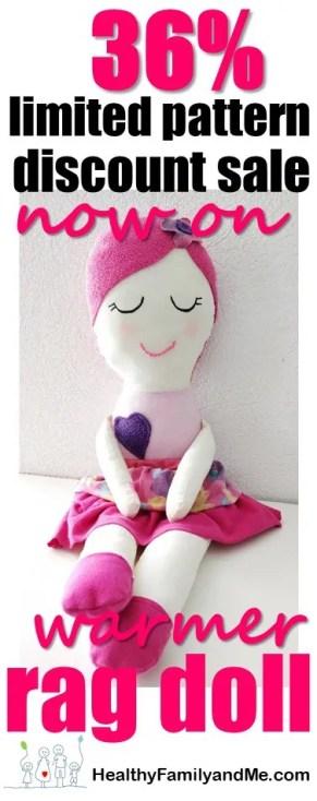 handmade dolls. massive 36% discount on the winter warmer mia doll pattern for a limited time only. #handmandedolls #dollsDIY #dollcraft #makeyourowndoll #homemadecrafts #toddlerdoll