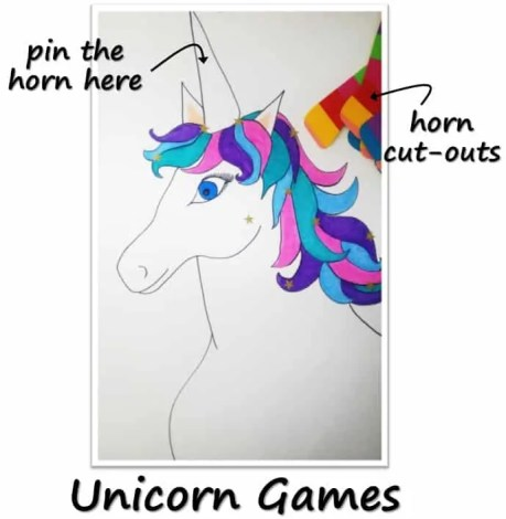Unicorn games for Birthday Party with unicorn costume, birthday invitation, treats, unicorn cake, birthday games and birthday favors. #unicornparty #birthdayparty #birthdayfavors #unicorncake #pinata