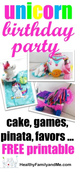 Are you planning Unicorn Birthday Party? Check out these great ideas for unicorn costume, birthday invitation, treats, unicorn cake, birthday games and birthday favors. #unicornparty #birthdayparty #birthdayfavors #unicorncake #pinata
