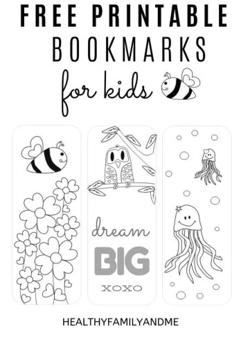 free printable bookmarks to color for kids