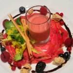 Serano jam, prosciutto raspberry smoothie, beveldere hotel, switzerland