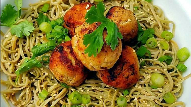 Turkey Brie Meatballs on Sesame Edamame Spaghetti