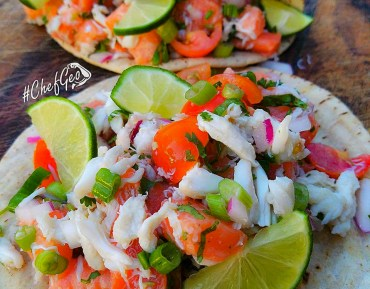 Margarita Lime Salmon Sashimi and Crab Tacos