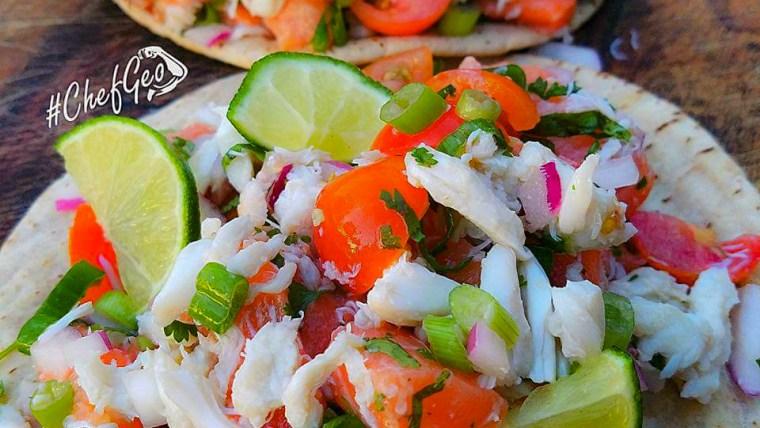 Margarita Lime Salmon Sashimi and Crab Tacos