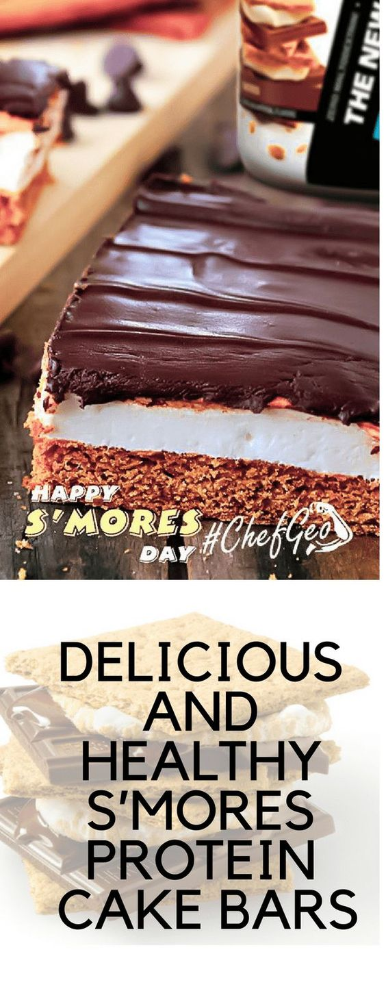 HEALTHY S'MORES PROTEIN CAKE BARS