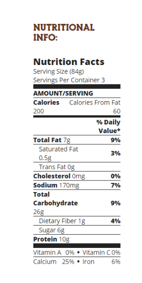 vans nutritional information