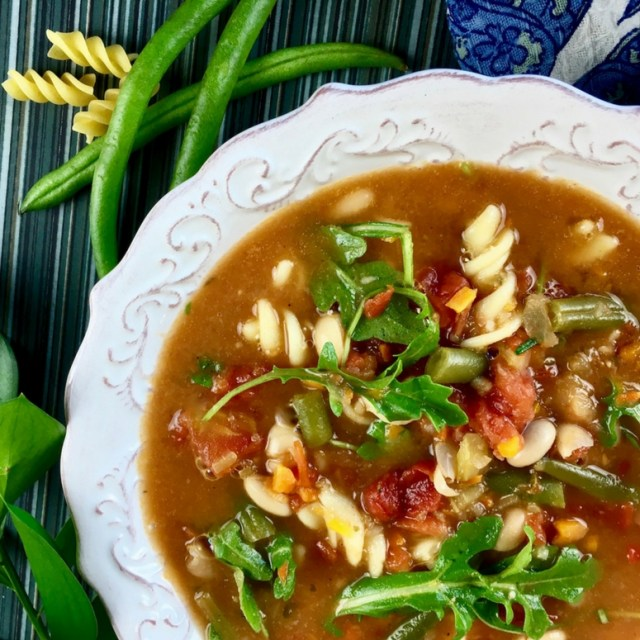 Hearty Minestrone Soup with Fresh Arugula