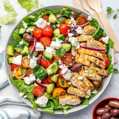 Easy Greek Chicken Salad Recipe | Healthy Fitness Meals