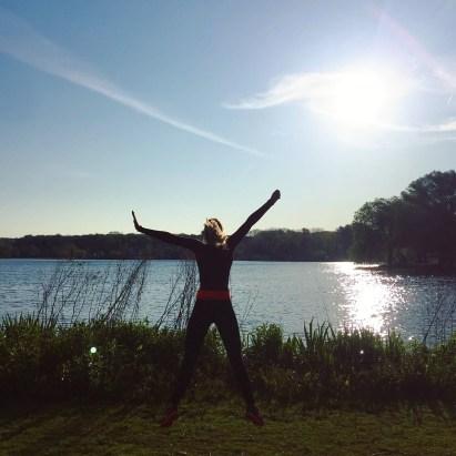 Laura tijdens een ochtend run