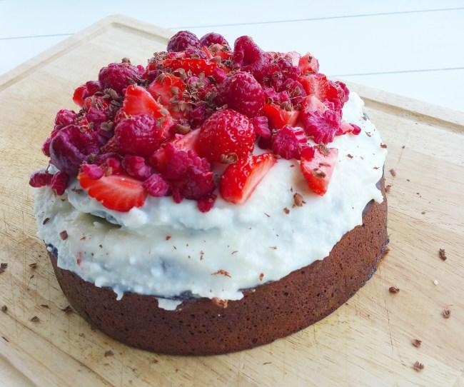 Double chocolate zomerfruit taart 3