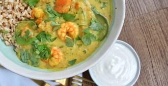 Thaise gele curry met pompoen en garnalen 1