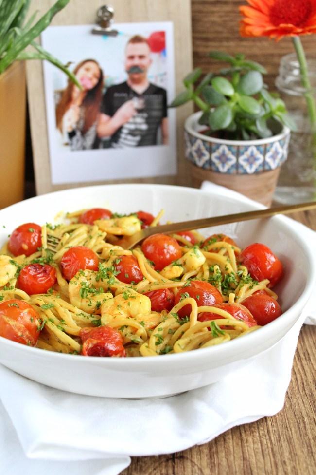 Spaghetti met curry garnalen 1