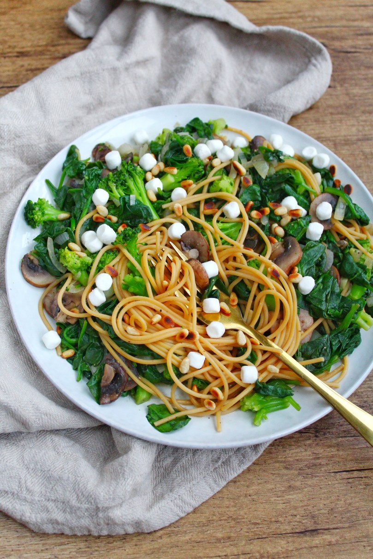 linzen spaghetti met spinazie, broccoli, champignons en geitenkaas 1