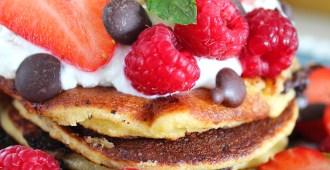 Koolhydraatarme chocolate chip pancakes