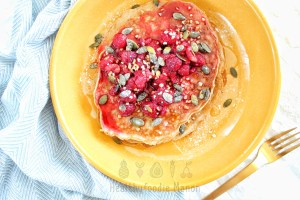 Koolhydraatarme pannenkoeken met frambozen ontbijt
