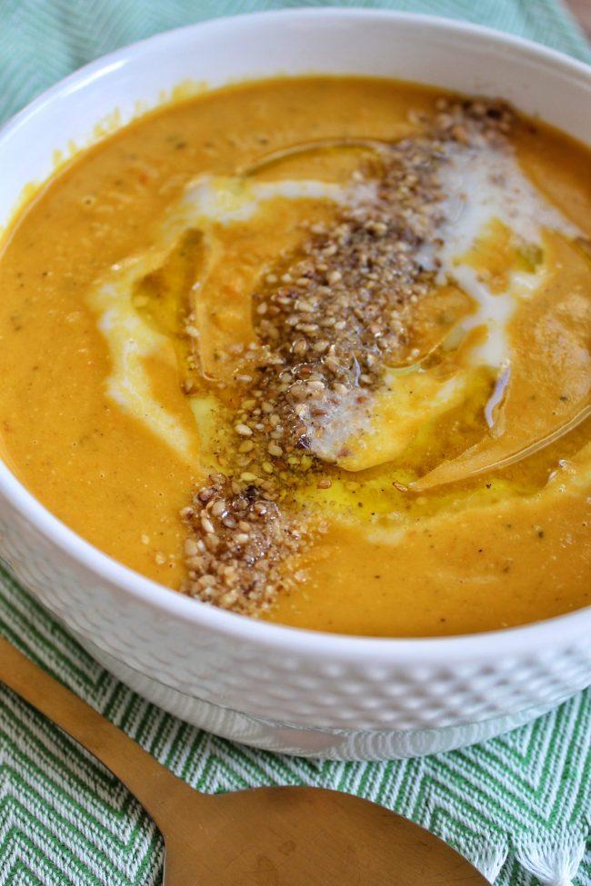 pompoen linzensoep met wortel en paprika olijfolie