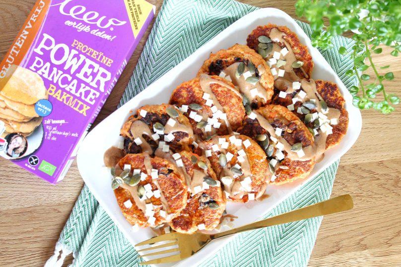glutenvrije worteltaart pannenkoekjes van rode linzenmeel Leev bakmix