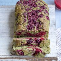 Vegan Matcha Loaf with Raspberry Chia Jam