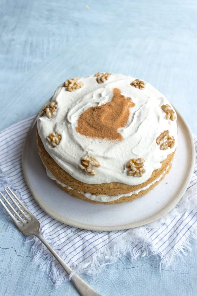 healthy vegan carrot cake with cashew cream frosting