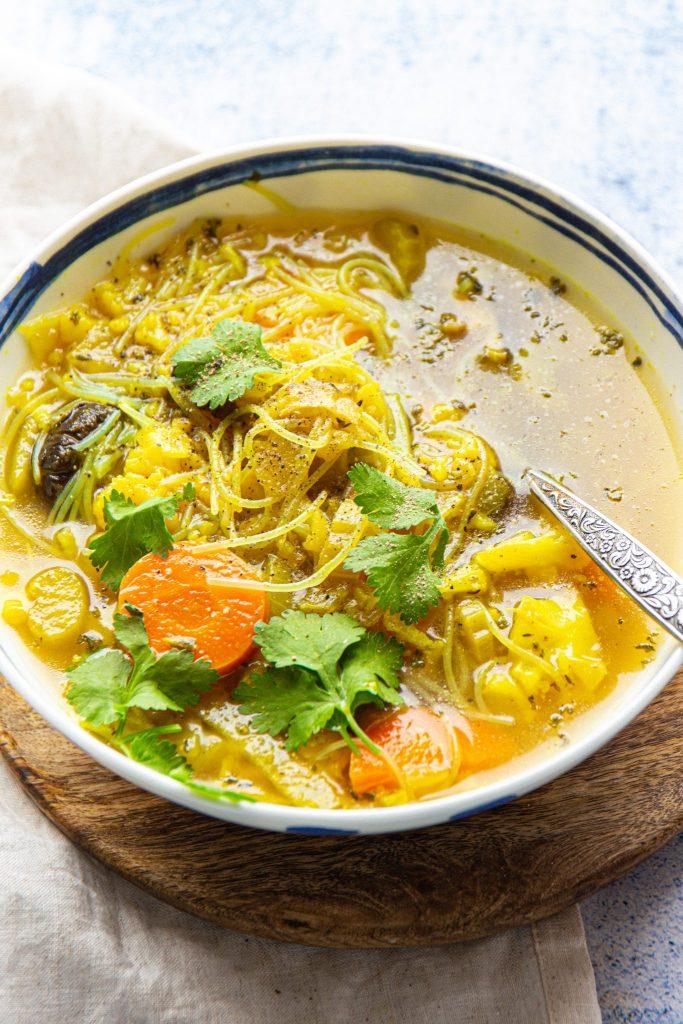 healthy vegan cauliflower noodle soup