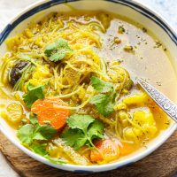 Healthy Vegan Cauliflower Noodle Soup