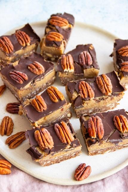 low sugar healthy vegan caramel slice recipe with pecan nuts