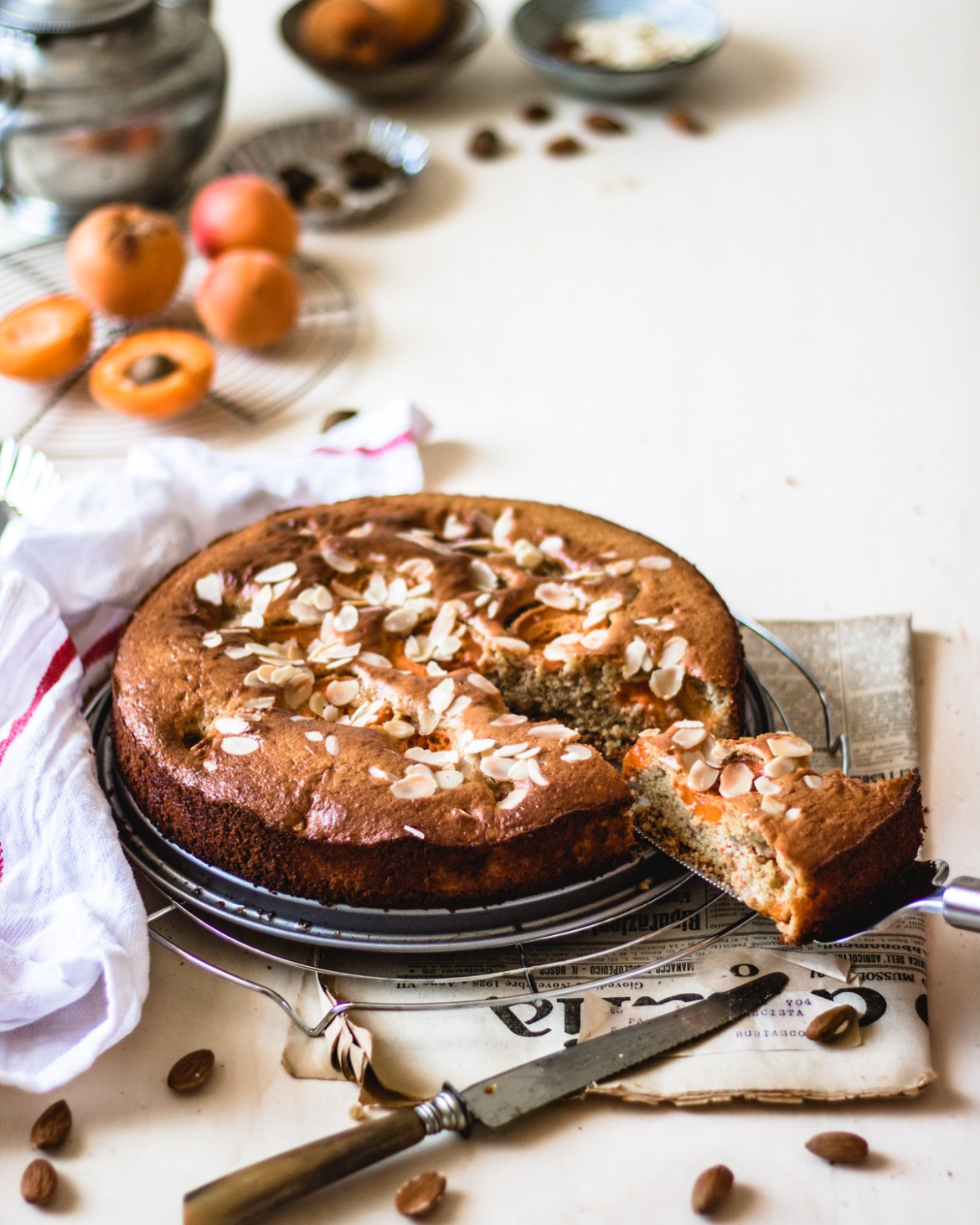 This is grain free and gluten free Apricot cake made with chickpea flour. Nutrient and healthy.