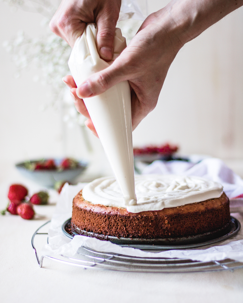 gluten free chickpea cake with cheese frosting