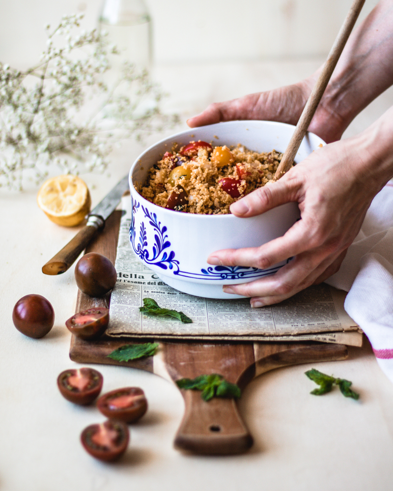 Healthy no-cook taboule made from legume couscous