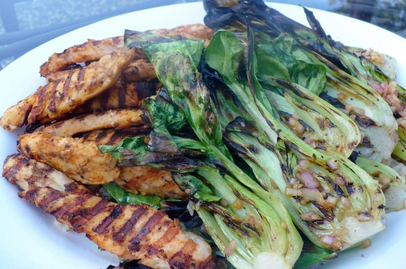 Thai Chicken Satays with Grilled Baby Bok Choy