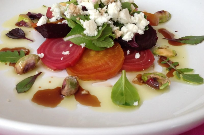 Roasted Beet Salad with Goat Cheese and Pistachios