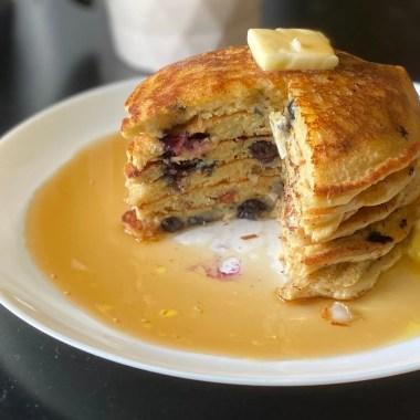 High Protein Almond Flour Pancakes with Blueberries
