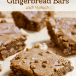 Healthy Gingerbread Bars with Walnuts [gluten-free + naturally sweetened]
