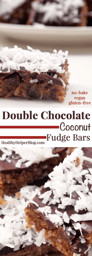 Double Chocolate Coconut Fudge Bars no-bake, vegan, gluten-free] from HealthyHelperBlog.com