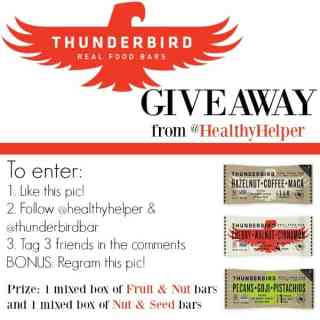 Thunderbird Bar GIVEAWAY from Healthy Helper Blog [giveaway, enter to win, contest, food, fun, healthy food, win]