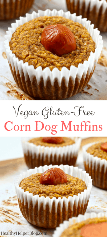 Vegan Corn Dog Muffins | Healthy Helper @Healthy_Helper A healthy version of two classic 'junk foods'! Cornbread and vegan hot dogs combine in the ultimate fun food you can feel good about eating. Soft, fluffy corn muffins and delicious hotdogs make for a satisfying snack or side for your next tailgate!