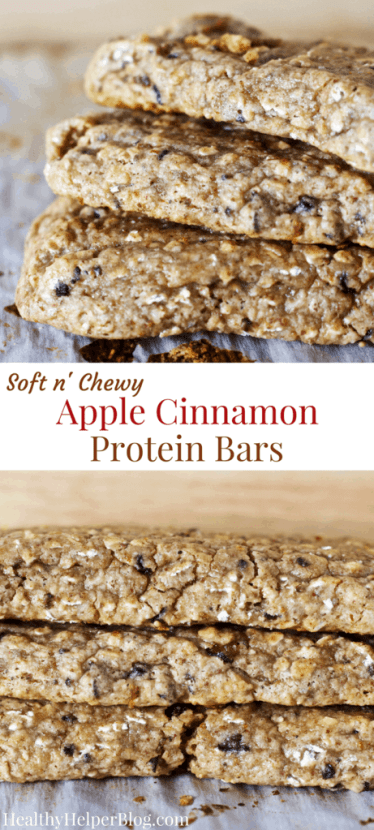 Soft n' Chewy Apple Cinnamon Protein Bars | Healthy Helper @Healthy_Helper These Apple Cinnamon Protein bars are soft-baked perfection! Gluten-free, naturally sweetened, and so full of delicious apple flavor. They'll fill your house with the smell of apple pie and your stomach with high quality protein. Perfect for on the go healthy snacking and much cheaper than store-bought bars!