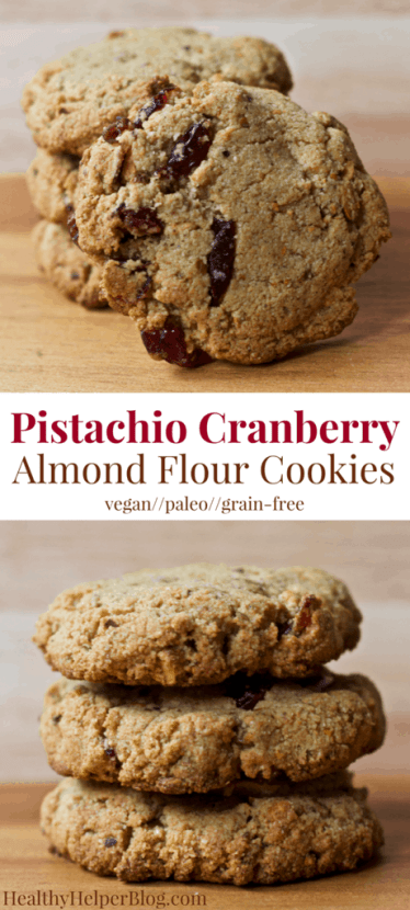 Pistachio Cranberry Almond Flour Cookies   Healthy Helper @Healthy_Helper Delightfully chewy n' light paleo cookies made with almond flour and no added sugars! Studded with sweet cranberries and salty shelled pistachios, these cookies are vegan, gluten/grain-free, and perfect for the holiday season! A healthy, delicious addition to your dessert table.