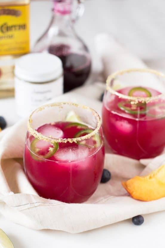 Spicy Blueberry Peach Margaritas | Healthy Helper @Healthy_Helper