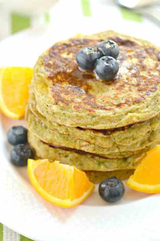 Zucchini Greek Yogurt Pancakes | Healthy Helper @Healthy_Helper