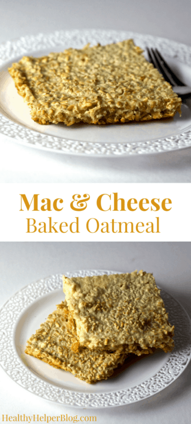 Gluten-Free Mac and Cheese Baked Oatmeal | Healthy Helper @Healthy_Helper Savory baked oatmeal bars that are high in protein and taste like mac and cheese! These Gluten-Free Mac and Cheese Bars are healthy, whole grain, and perfect for a quick breakfast or snack. Make them ahead of time to have on hand all week long!