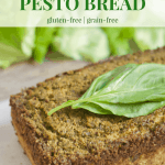 PALEO Pesto Bread   Healthy Helper @Healthy_Helper A savory basil bread made paleo and 100% grain-free! This deliciously herby Pesto Bread is full of rich flavor, nuttiness, and cheesy taste despite being dairy-free. Gluten-free and perfect for pairing with your favorite main dish.