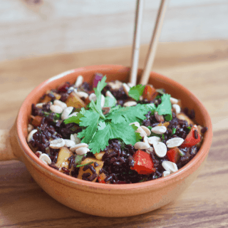 Forbidden Black Rice Mango Salad | Healthy Helper @Healthy_Helper You'll experience a taste and flavor explosion upon first bite of this incredibleForbidden Black Rice Mango Salad. Sweet, savory, crunchy, and chewy...this vegan and gluten-free side dish has everything you crave. Filling, nutrient dense, and so tasty!